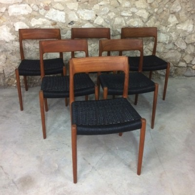 Set of 6 teak dining chairs by Niels Otto Moller for JL Mollers Mobelfabrik