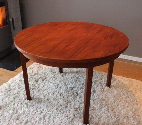 Vintage 1960s Danish teak dining table with two extension panels