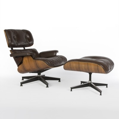 Original Herman Miller Brown Leather Rosewood Eames Lounge Chair & Ottoman