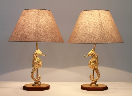 Pair of SeaHorse desk lamps, 1970s