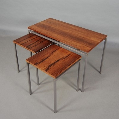 Gorgeous set of three nesting tables in Brazilian rosewood