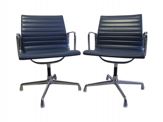 Blue vinyl EA 108 alu chairs by Charles & Ray Eames for Herman Miller