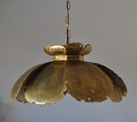 Pendant ceiling light composed of large acid treated leaves by Holm Sørensen