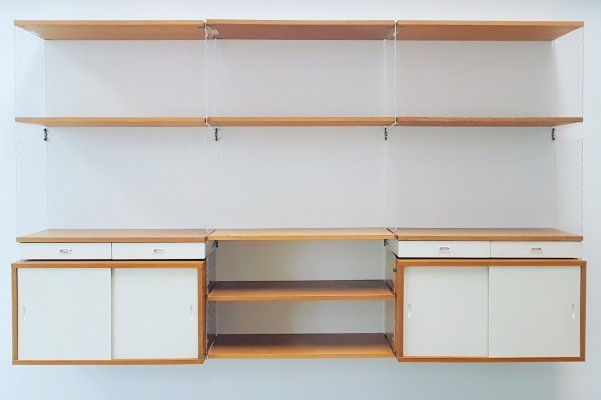 Nisse Stringing perspex & oak modular wall unit for String Furniture, 1950s