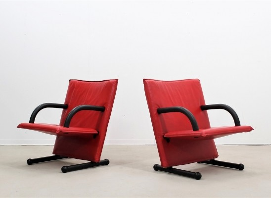 Pair of T-line arm chairs by Arflex, 1970s