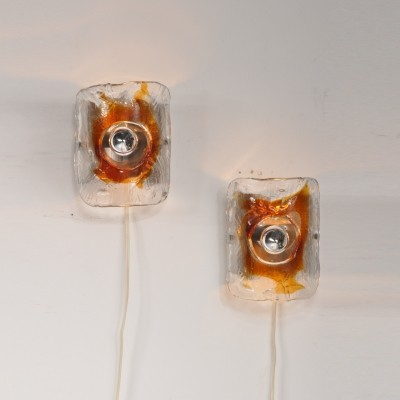 Pair of Mazzega wall lamps, 1960s