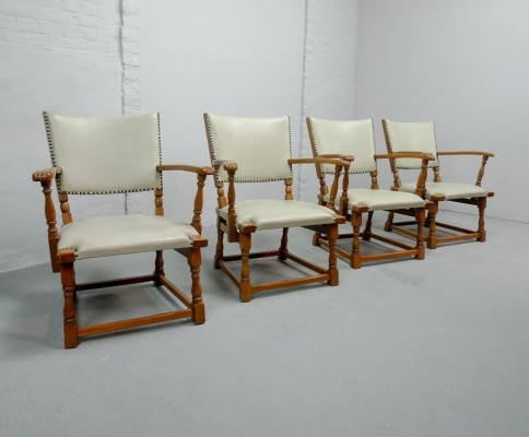 Set of Four Dutch Design Oakwood Arm Chairs by Theo Ruth for Artifort, 1950s