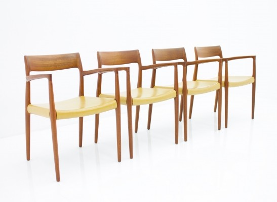 Set of 4 model 57 arm chairs by Niels Otto Møller for J L Møller, 1950s