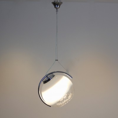 Chrome & Frosted Glass Pendant by A.V. Mazzega
