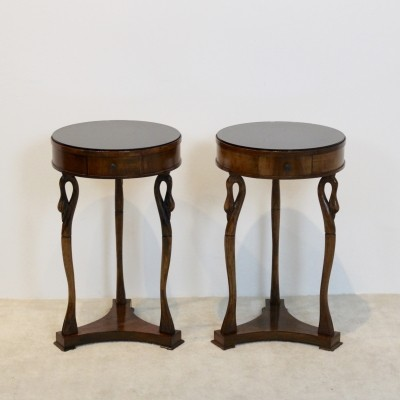 Set of French Swan Tables with Glass top