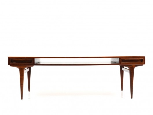 Rectangular Danish Rosewood Sofa Table with Two Drawers