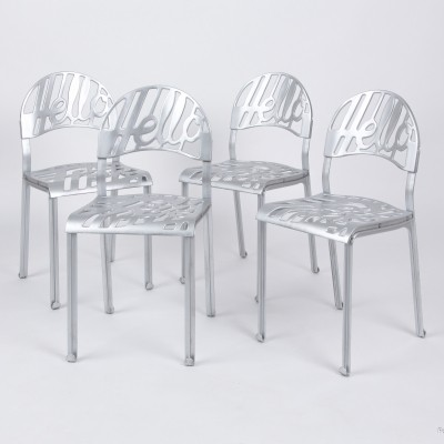 Set of 4 Hello There dinner chairs by Jeremy Harvey for Artifort, 1970s
