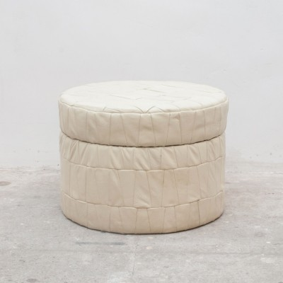 Vintage White Leather Patchwork Pouf with storage for magazines, 1970s