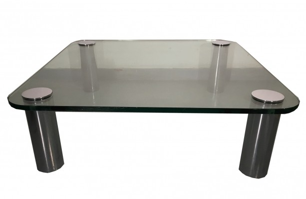 Vintage Glass & Chrome coffee table by Pace Collection, 1970s