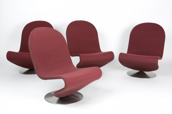 A set of Verner Panton 123 serie lounge chairs for Fritz Hansen