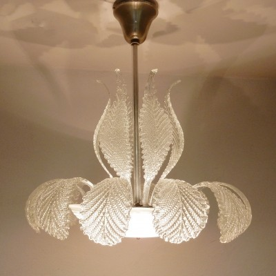 Glass leaf hanging lamp by Barovier & Toso, 1960s