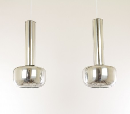 Pair of chromed Guldpendel by Vilhelm Lauritzen for Louis Poulsen, 1950s