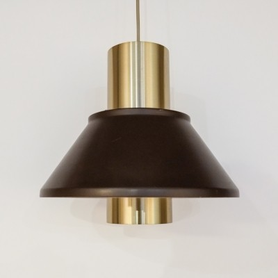Pair of Life lamps in brass & brown by Jo Hammerborg for Fog & Mørup