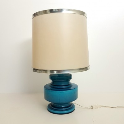 Azure blue porcelain desk light by Porcelaine De Bruxelles, 1950s