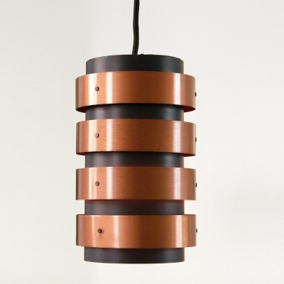 Black with copper Danish 'Eiffel' hanging lamp