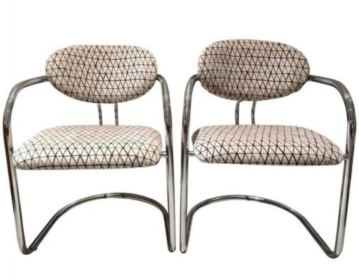 Pair of Tubular Steel Chairs with Velvet Upholstery