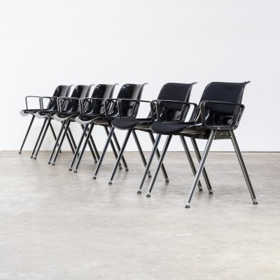 Set of 6 Tecno SM203 office chairs, 1980s