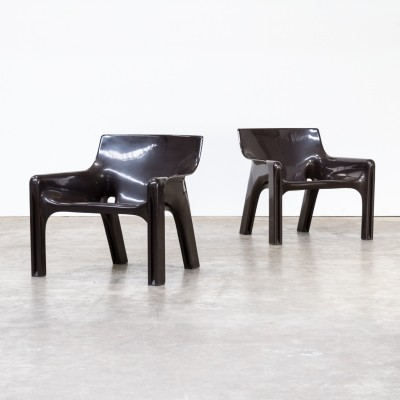 Pair of Vicario lounge chairs by Vico Magistretti for Artemide, 1970s