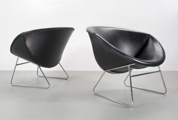 Pair of lounge chairs by Rudolf Wolf for Rohé Noordwolde, 1950s