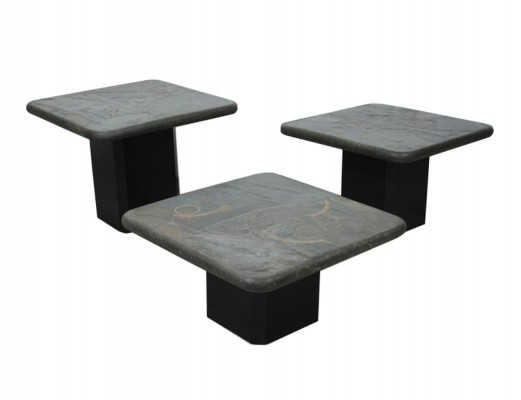 Set of 3 coffee tables by Markus Kingma for Kingma, 1970s