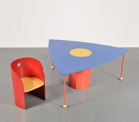 Children chair & table with storage unit, 1970s