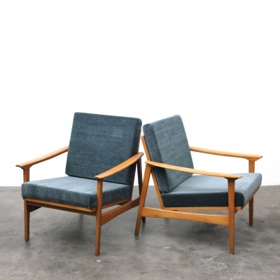 Pair of Beech Wood Lounge Chairs