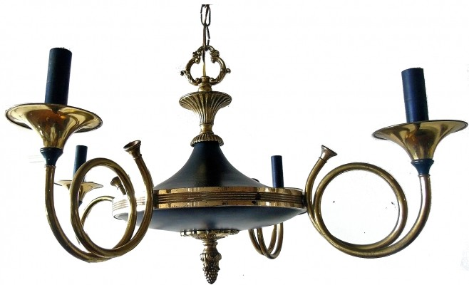 Brass 'hunting horn' chandelier by Maison Baguès, 1940s