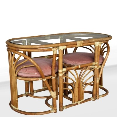 Italian set in Rattan composed by two chairs & a table with crystal top