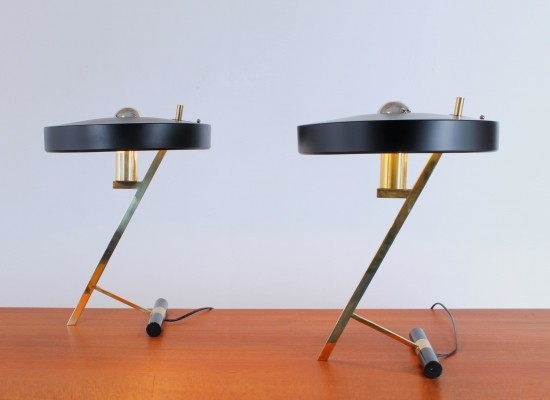 Pair of Z desk lamps by Louis Kalff for Philips, 1950s