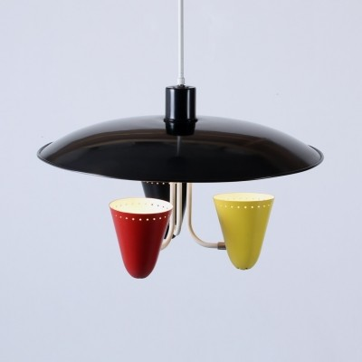 Saucer light hanging lamp by H. Busquet for Hala Zeist, 1950s