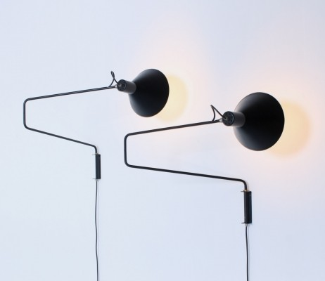 Pair of Paperclip elbow wall lamps by J. Hoogervorst for Anvia Almelo, 1950s