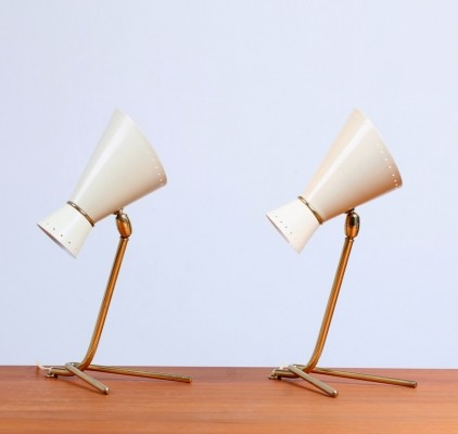 Pair of Swiss table lights, 1950s