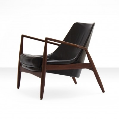 Ib Kofod-Larsen black Seal Lounge Chair, Sweden 1950s