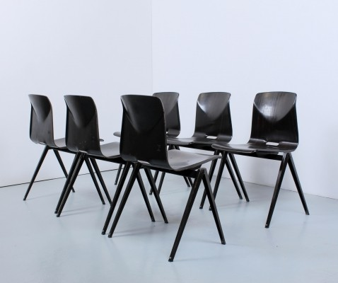 Set of 6 Darkbrown 's22' dinner chairs by Galvanitas