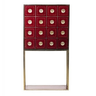 Burgundy Red Acrylic Coated Wood Cabinet with 16 Drawers