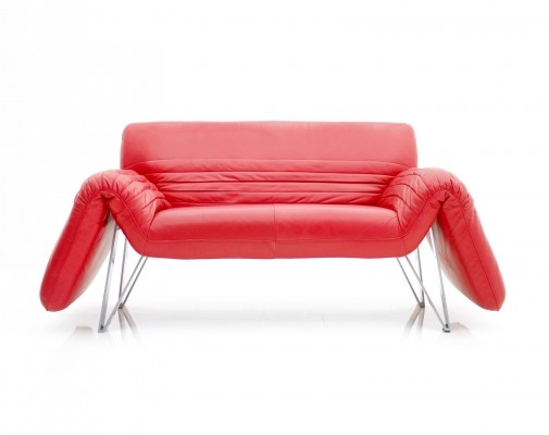 Red Leather 'DS 142' Sofa by Wilfried Totzek for De Sede, Swiss 1988