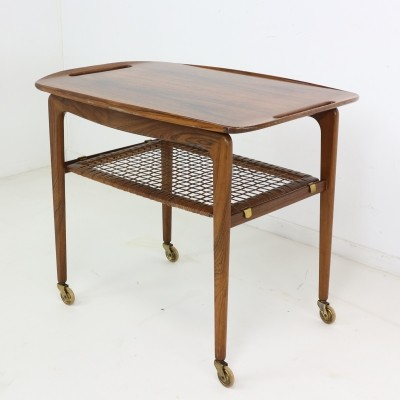 Mid-Century Walnut Rolling Bar Cart or Table by Poul Jensen for Selig