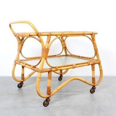 Rattan serving trolley by Rohé Noordwolde, 1960s