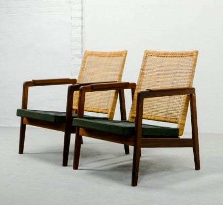Set of Low Back Woven Cane Lounge Chairs by Muntendam for Gebr. Jonkers, 1950s