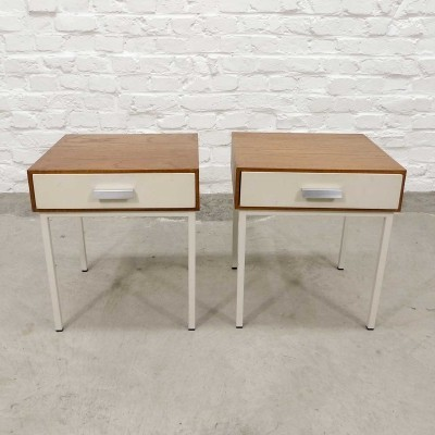 Mid-Century Pair of Teak Wood & Steel Bed Side Tables with White Drawer, 1960s