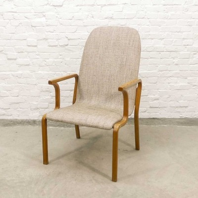 Mid-Century Scandinavian Plywood & Sandy Fabric Arm Chair, 1970s