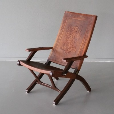 Leather & Wood Folding Chair by Angel Pazmino for Muebles de Estilo, 1960s