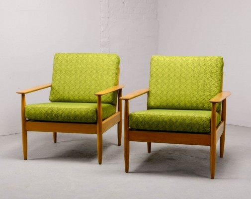 Mid-Century Scandinavian Pair of Beech Wood Ladder Lounge Chairs, 1960s