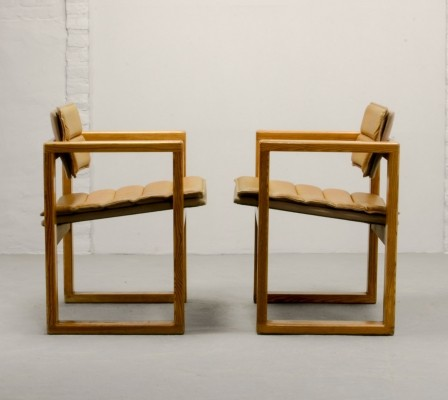 Pair of Leather Cubic Pinewood Side Chairs by Ate van Apeldoorn, 1960s