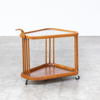 Bar cart serving trolley in rosewood & glass, 1930s